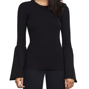 BCBG MAXAZRIA black Wool Blend Bell Sleeve Sweater